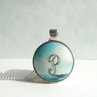 Hand Painted Necklace Letter P, Ocean Painting,  P Letter Initial P Necklace Letter P Landscape Painting, Personalized Necklace by Artdora