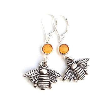 Bumble Bee Earrings, For Women, Queen Bee Jewelry, Gold Honey Yellow Crystal, Insect Silver Dangle, Sterling Silver Leverback, 316