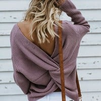 Purple Cross Back V-neck Long Sleeve Pullover Sweater