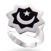 Stainless Steel & Black Abraham Crescent Ring