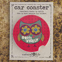 Natural Life Drive Wisely Car Coaster