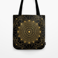 Geometric Circle Black and Gold Tote Bag by Fimbis