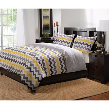 Marquis Collection Vida Yellow/Gray Color King Duvet Cover Set, 3-Pc by Greenland Ho