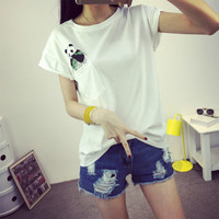 Round Neck Short Sleeve T. Shirt Printed with Panda