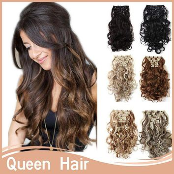 7pcs/set 50 '20inch Long Curly Clip in Hair Extension High Temperature Fiber 150g