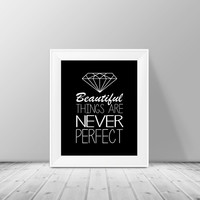 Diamond Decor - Beautiful things are never perfect, Home Decor, Birthday Gift, Geometric Diamond Print, Modern Wall Art, Diamond Art