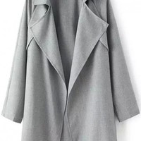 LUCLUC Gray Turn Down Collar Ruffle Trench Coat - LUCLUC
