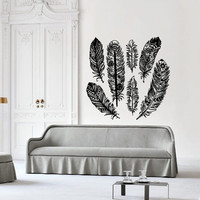 Wall decal decor decals art feather bird plumage tenderness air down design mural bedroom (m997)