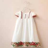 White Embroidered Floral Dress