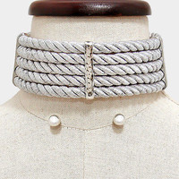 """14"""" silver twisted rope wide collar bib choker necklace .30"""" earrings chunky"""