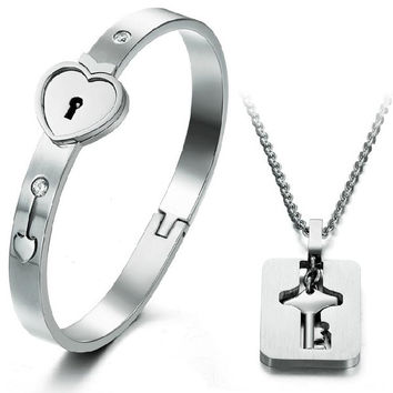 """Athena Jewelry Titanium Series His and Hers Matching Set Couple Titanium """"Only You Have My Key"""" Bangle Bracelet Magnetic Simple Korean Style Anti-fatigue in a Gift Box"""