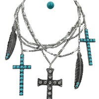 Rockabilly Western Turquoise Accent Cross & Feather Layered Pendant Necklace and Earrings Set