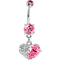 Pink Gem Half My Heart Belly Ring | Body Candy Body Jewelry