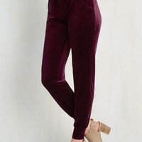 Velvet Vivacity Pants in Burgundy