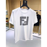 FENDI Fashion Women Men Casual F Letter Short Sleeve T-Shirt Top White