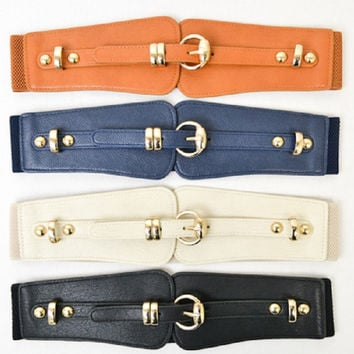 Gold Buckle Stretch Belt