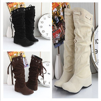 Women Mid-Calf Tassels Boots Slouch Comfort Soft Leather Flat Heel Fringes Shoes = 1946456324