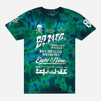 Trenches Raised T Shirt Tie Dye Blue