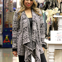 Aztec Pattern Embroidered Cardigan in Black/White