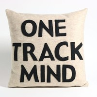 ONE TRACK MIND oatmeal and black recycled by alexandraferguson