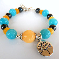 Stylish and Retro Nature Bracelet, Nature inspired bracelet, Yellow Calcite, Aquamarine, Hematite, Tree of life pendant, FREE SHIPPING