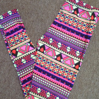 Patterned Leggings - Fuchsia
