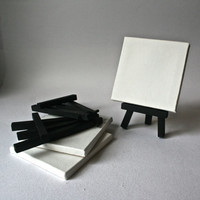 Mini Canvas and Easet Sets for the Mini Painters Studio - 3 each of 4 Inch Canvases and Black Wooden Easels for Painting and Decor