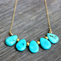 Turquoise Drop Charm Necklace on 14k Gold Filled Chain and Gold Beads Turquoise and Gold Necklace
