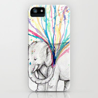 Elephant Showers, Rainbow Flowers iPhone & iPod Case