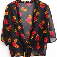 Black Floral Print Short Sleeve Chiffon Blazer Top