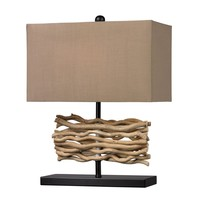 Natural Driftwood Table Lamp in Black With Caramel Shade Black,Natural