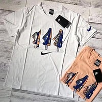 """""""Nike"""" Summer New Popular Women Men Comfortable Ice Cream Shoes Pattern Short Sleeve Pure Cotton T-Shirt Pullover Top White I13256-1"""