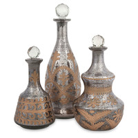Acadia Glass Decanters, Silver, Set of 3, Decanters