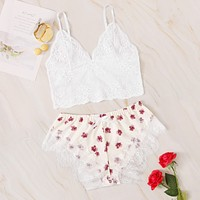 Floral Lace Bralette With Floral Print Shorts