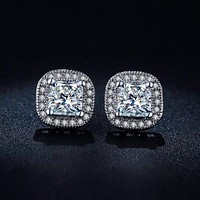 Women Classic Platinum Plated Princess-cut Square Cubic Zircon Wedding Stud Earrings
