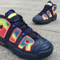 Nike Air more uptempo blue red yellow Basketball Shoes 36-39