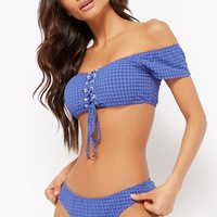 Puckered Plaid Bikini Top & Bottoms Set