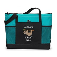 Don't Hurry Be Happy Personalized Zippered Tote Bag