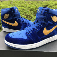 [ FREE SHIPPING ] AIR JORDAN 1 (ROYAL BLUE VELVET) Basketball Sneaker