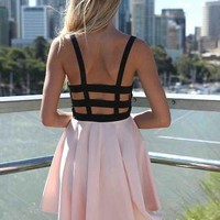 Pink and Black Mini Dress with Cage Back&Lace Front Detail
