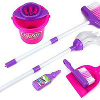 Kids Little Helper Deluxe Pretend Play Toy Cleaning Play Set Broom Mop Dust Pan