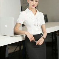 Formal Professional Office Work Wear Suits 2 Piece Tops And Skirt For Ladies Beauty Salon Outfits Skirt Suits Plus Size 3XL