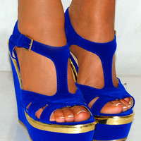 LADIES COBALT PLATFORMS GOLD BRIGHT BLUE PEEP TOE WEDGES HIGH HEELS SHOE STRAPPY