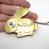 bonjour bunny rabbit necklace - vintage brass, hand stamped french hello