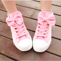 00-Pink Bow Canvas Shoes
