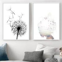 Dandelion Abstract Girl Bird Sunset Wall Art Canvas Painting Nordic Posters And Prints Decoration Pictures For Living Room Decor
