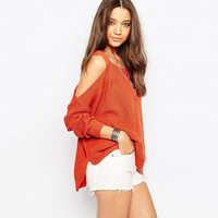 Cutout Long Sleeves Ribbed Asymmetric Knitted Sweater