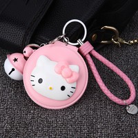 Cute Hello Kitty Mirror Keychain KT Cat Key Chains Holder Leather Rope Key Ring Car Porte Clef  Bag Charm Pendant for Women Gift