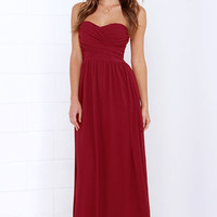 Royal Engagement Strapless Wine Red Dress