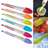 Silicone Kitchen Cooking Salad Serving BBQ Tongs Stainless Steel Handle Utensil random color